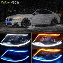2pcs 45cm Auto Daytime Car Running Lights Turn Signal Lamp Flexible DRL Strip Angle Eyes Headlight Brake Assembly