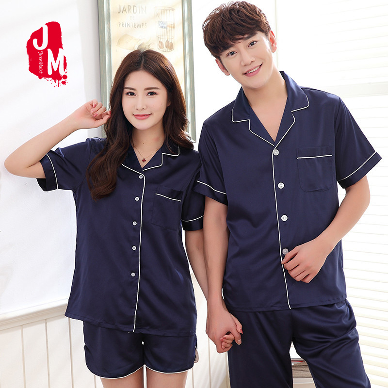 2018 Solid Silk Men Pajamas Set Summer Sleep Short Sleeve Satin Mens Sexy Sleepwea Suit Pajama Man Cute Pyjamas Male XXXL Lounge