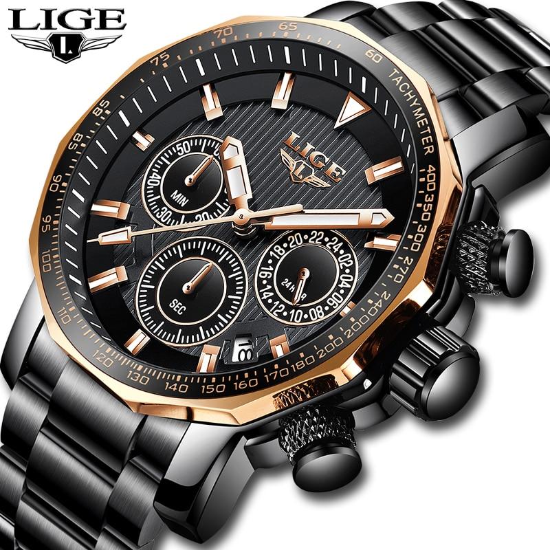 2018 LIGE hommes montres Top marque de luxe mode Quartz horloge hommes plein acier étanche Sport militaire montre Relogio Masculino + boîte