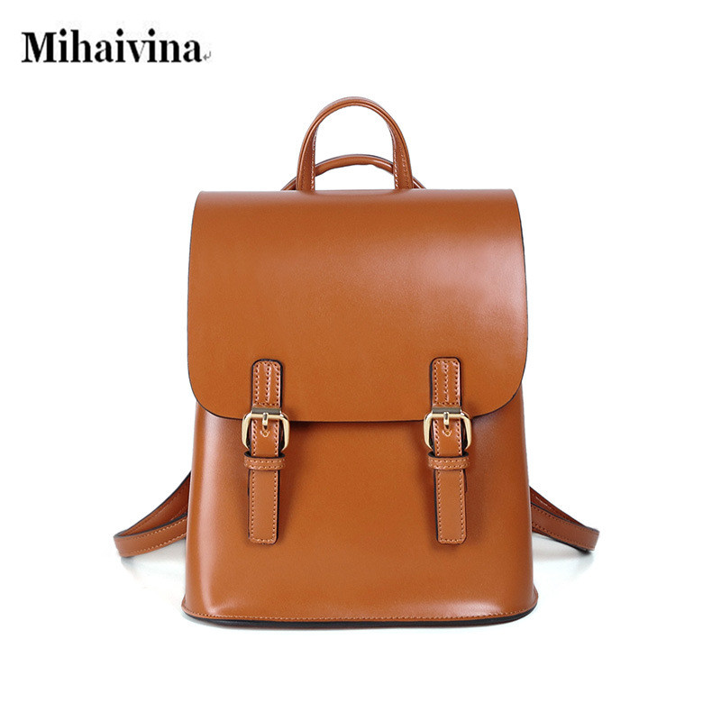 Women Backpack Fashion Teenagers Girls PU Leather Shoulder School Bag Simple High Quality Top-handle Backpacks Travel Bags