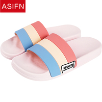 ASIFN Women Slippers Home Summer Slides Ladies Sports Mules Non-slip Indoor Men Female Couple Soft Slip Mixed Colors Style