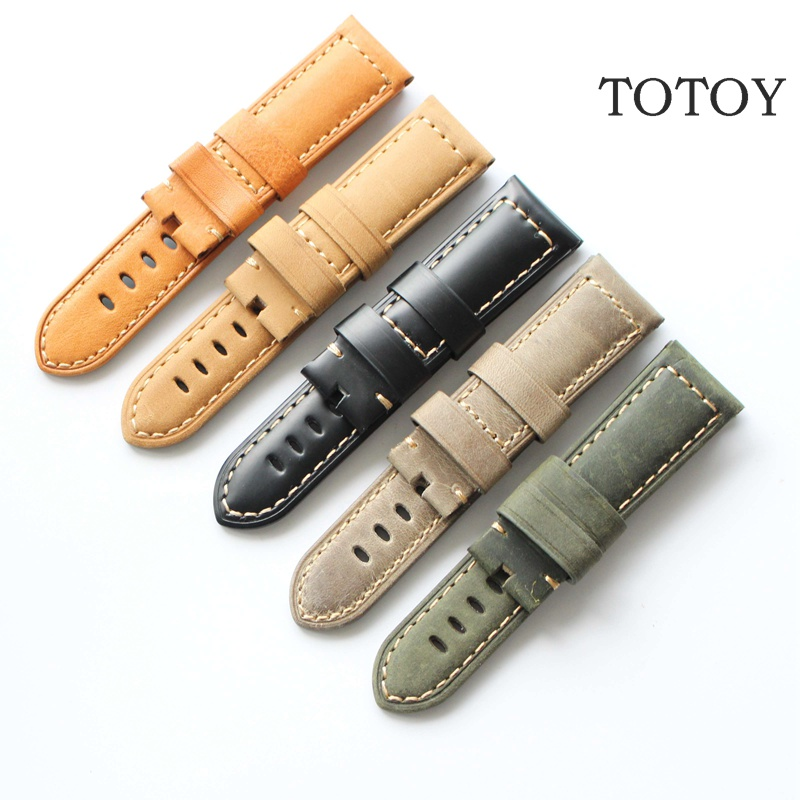 TOTOY Khaki/Green/Black/Blue/Brown Handmade Leather Watchbands, 22MM/24MM/26MM Retro Crazy Horse Hide Straps, For Pam Watchbands new matte red gray blue leather watchband 22mm 24mm 26mm retro strap handmade men s watch straps for panerai