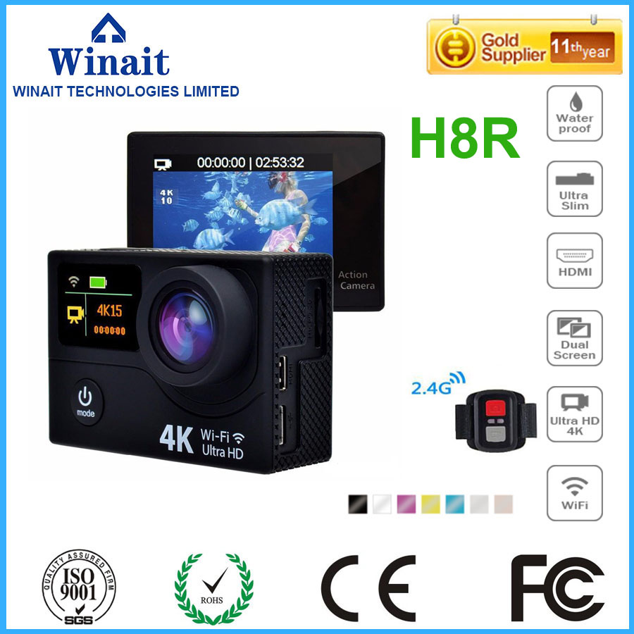 h8R sports camera/4k wifi action camera with 2.0'' TFT display and 170 degree wide angle free shipping