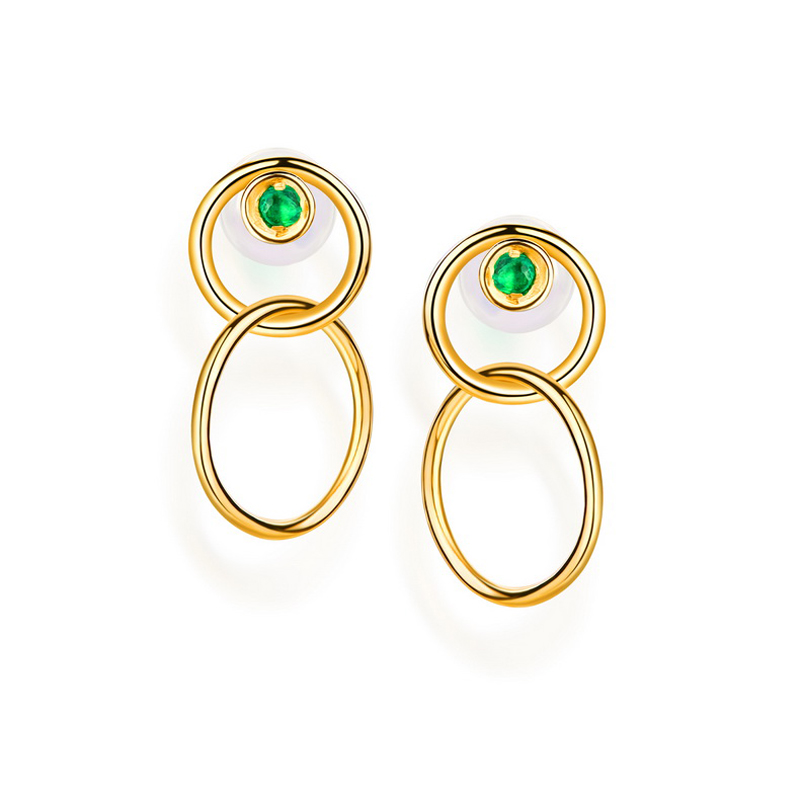 JXXGS Jewelry Natural Emerald 14K Gold Earrings Double Circle Drop Earrings For Women