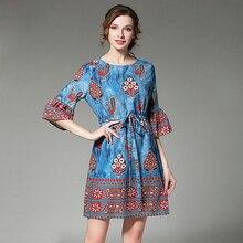 2017 Bohemian Ethnic Style Flare Sleeve Mini Vestidos Casual Dresses Floral Print Slim Tunic Beach Dress Women Clothing OM097