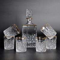 7pcs/set Creative Transparant gold rim drink glass Wine bottle crystal glass Party Water Bottle Beer Milk Tea Cup handmade