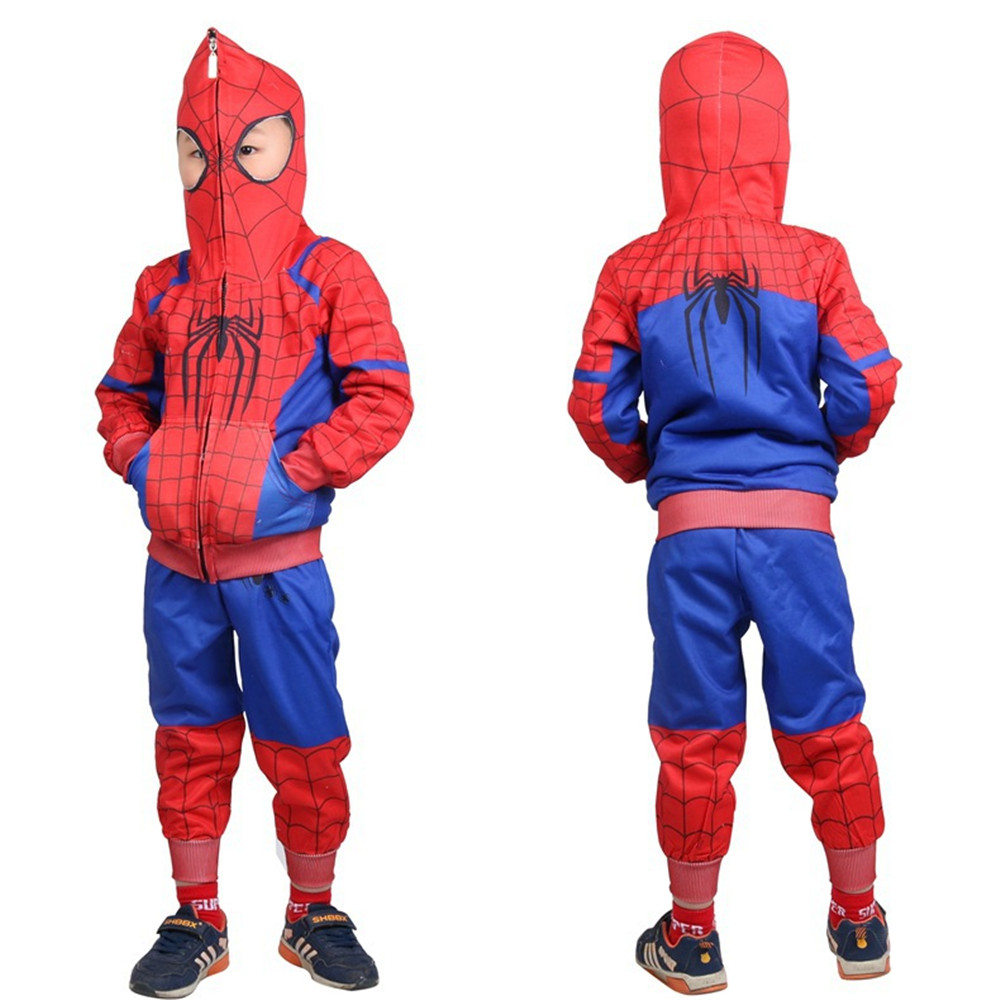 kids child girls boys Spider-Man: Into the Spider-Verse Cosplay Red Spiderman Costume hero Jacket tops coat+pants full set