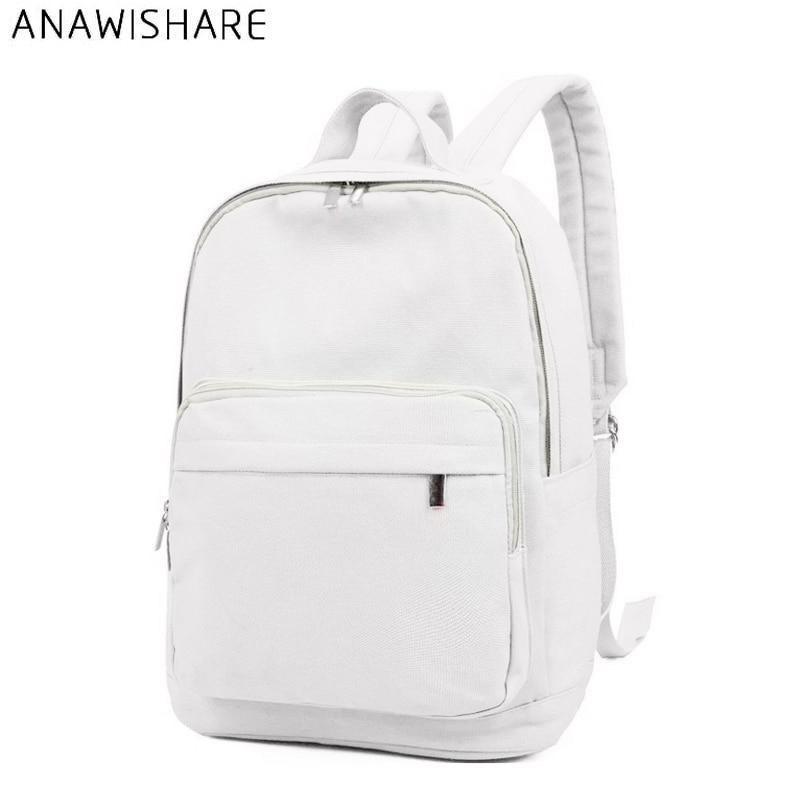 Women Canvas Backpacks White School Bags For Teenagers Girls Casual Rucksack Shouder Bags Large Travel Bags Wm8952