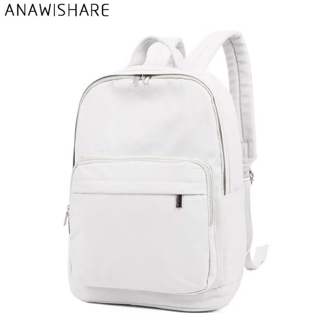 7943fe2966 ANAWISHARE Women Canvas Backpacks White School Bags For Teenagers Girls  Casual Rucksack Shouder Bags Large Travel Bags Wm8952