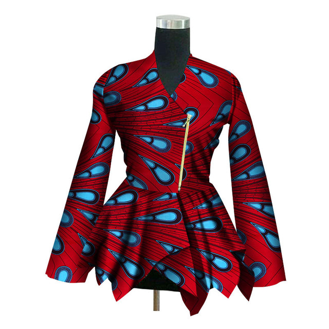 2019 New African Print Wax Coat Dashiki Blazer Plus Size 6xl Africa Style Clothing For Women Crop Top Casual Coat