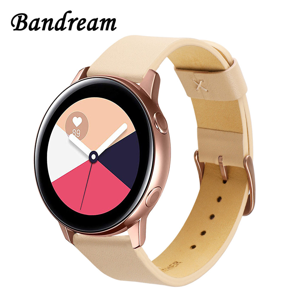 Italy Genuine Leather Watchband For Samsung Galaxy Watch Active R500 Active2 40mm 44mm Quick Release Band Women Strap Rose Gold