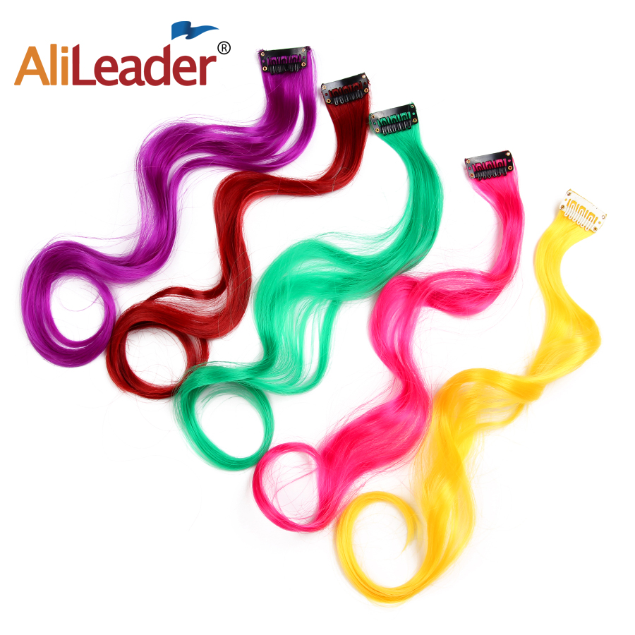Alileader Arco Iris colores un Clip en extensiones de cabello rizado sintético largo pelo para mujeres pieza de pelo azul rosa púrpura rojo verde