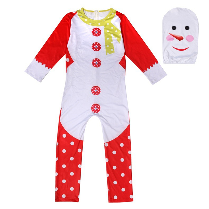 Christmas Children's Performance Game Play Costume Halloween Conjoined Cosplay Snowman Clothes Party Style Suit