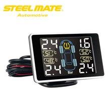 Steelmate TP-11 TPMS Tire Stress Monitoring System LCD Show Four Valve-cap Exterior Sensors Bar PSI Unit Wi-fi Transmission