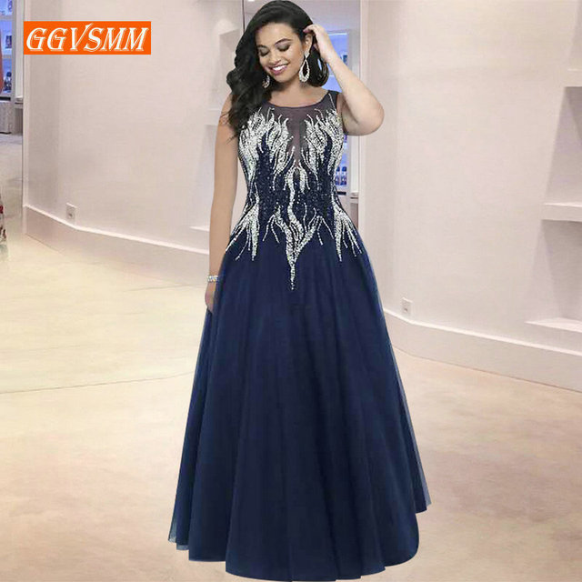 Fashion Dark Navy Evening Dresses Women 2018 Evening Gowns Long Scoop Tulle Appliques Beading Zipper A-Line Formal Party Dress