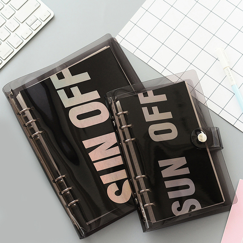 A5A6 Black PVC Notebook Accessory Sheet Shell Office School Transparent Concise 6 Holes Binder Planner Cover Buckle Journal image