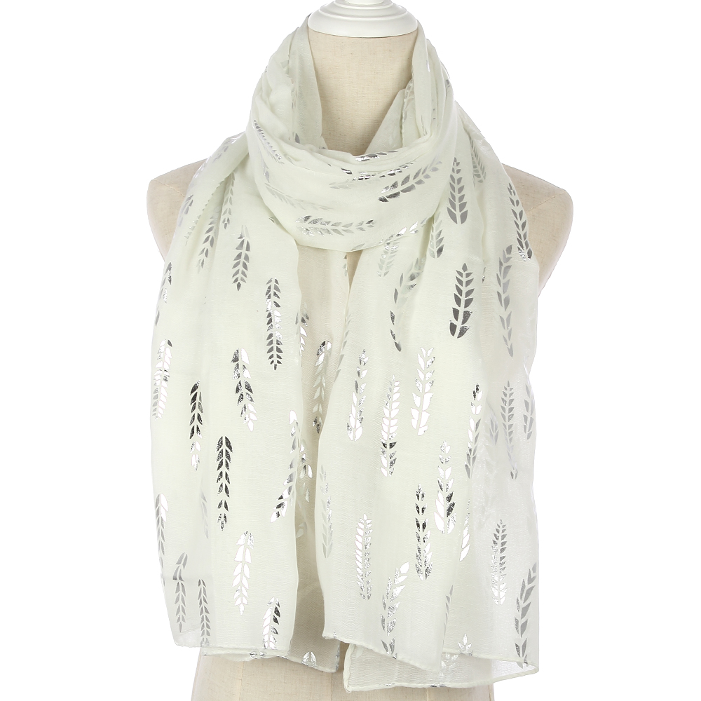 WINFOX 2018 New Fashionable Women White Pink Yellow Foil Silver Wheat Glitter Hijab Scarf For Womens