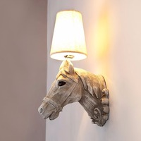 Creative Modern Wall Lamps Sconce Home Art Decoration Resin Horse Head Light Hotel Hall Staircase Aisle Lamp Fixtures E27