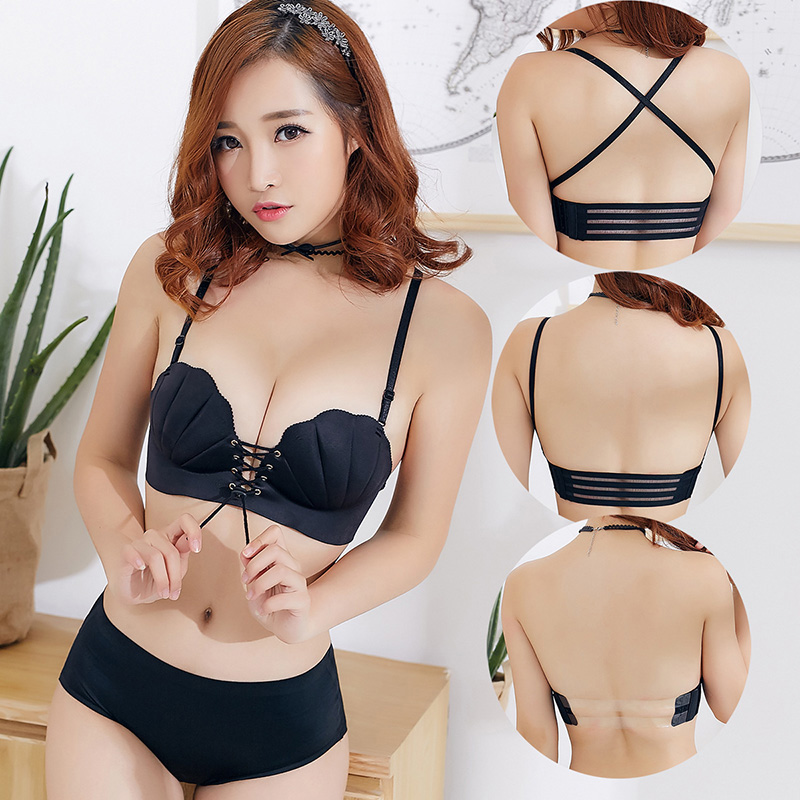 Korean Style Sexy Push Up Bra Sets Invisible Strapless Bras Shell Gather Padded Straps Underwear Women Lingerie Set Cup B