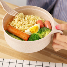 Wheat Straw Bowl Soup Korean Ramen Noodles Salad Rice Naked with Lid Tableware Set