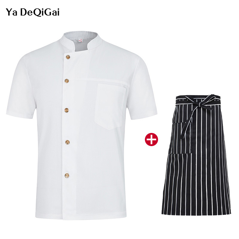 Hotel Kitchen White Uniforms Short Sleeve Chef Cooking Clothes Catering Workwear Breathable Cooking Jacket + Apron Chef Clothes