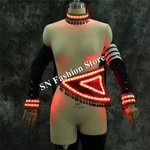 Lz27 свет белые костюмы Party Bar певица танцор DJ носит сексуальная одежда LED плечо привело waistcost этап одежда для костюмированной игры