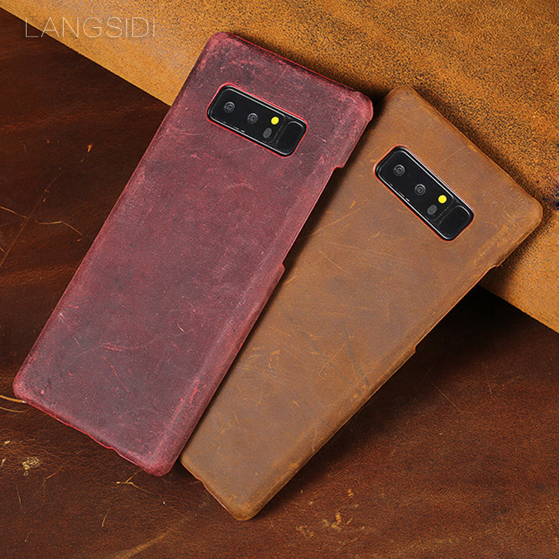 Genuine leather Phone case For Samsung Note 8 9 Crazy Horse Skin Back Cover For S7 S8 S9 Plus A5 A7 A8 J5 J7 2017 cases