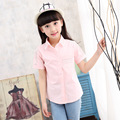 2016 новый летний девочка рубашки с коротким рукавом рубашки дети рубашки летней одежды 16251