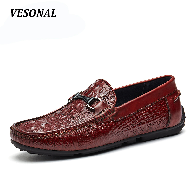 VESONAL Summer Loafers Men Shoes 100% Luxury Genuine Leather Embossing Fashion Classic Flats Mens Shoes Casual Boat Designer cbjsho brand men shoes 2017 new genuine leather moccasins comfortable men loafers luxury men s flats men casual shoes