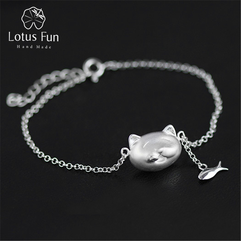 Lotus Fun Real 925 Sterling Silver Chain Bracelets for Women Jewellery Unique Cats Fish Bracelets Fine Jewelry moda feminina magic fish bracelets
