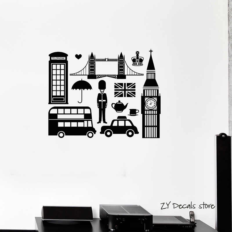 English England Symbol Wall Decals Big Ben London Wall Stickers Bedroom Decoration Mural Wallpaper Diy Wall Decor L382