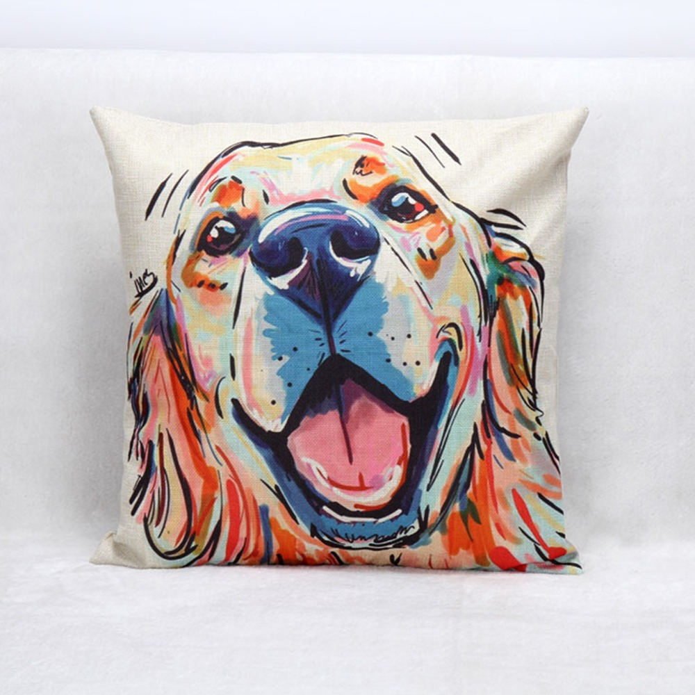 45*45cm Linen Cushion Dog Oil Painting Colorful Print Nordic Sofa Cushions For Home Decor from Reliable cushion cut micro pave engagement ring suppliers on ISINOTEX Official Store