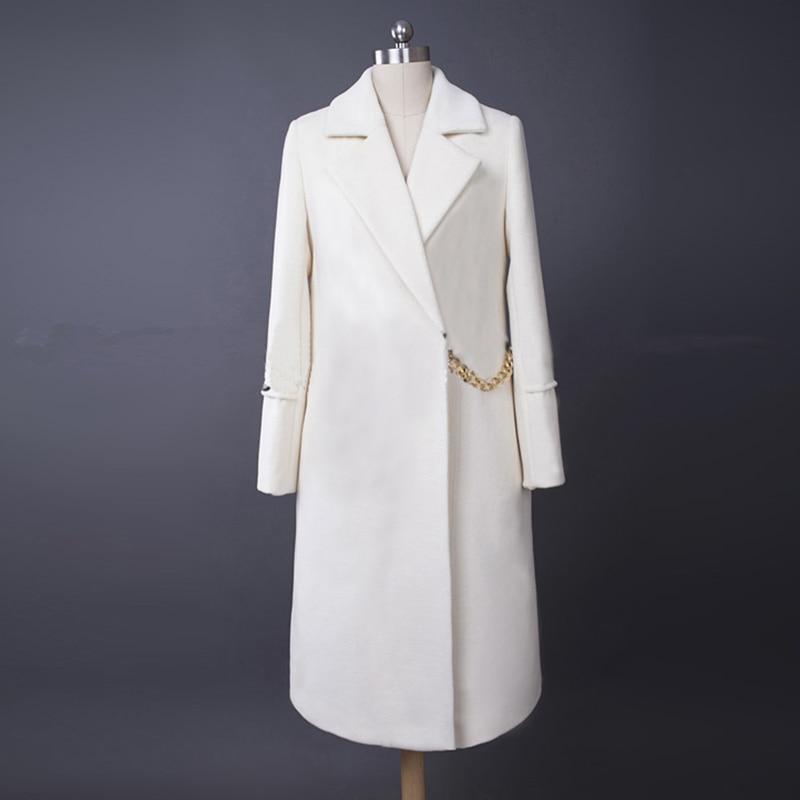 HIGH QUALITY New Winter 2016 Runway Designer Coat Women's Long Sleeve Chain Victoria Wool Coat Outer Overcoat size XS XXL