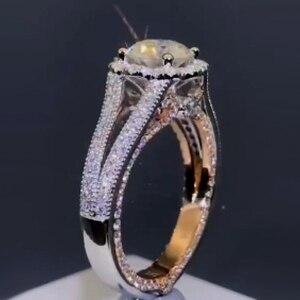 Image 5 - 固体 10 18kホワイトとイエローゴールドセンターdf色 1ctwモアッサナイトダイヤモンドヴィンテージの婚約指輪女性ブライダルウェディング