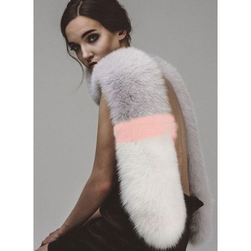 ZY86015 Popular Korean Europe Style Long Luxury Real Fox Fur Accessory Big Fur   Scarves     Wraps   Winter Shawl Shawl