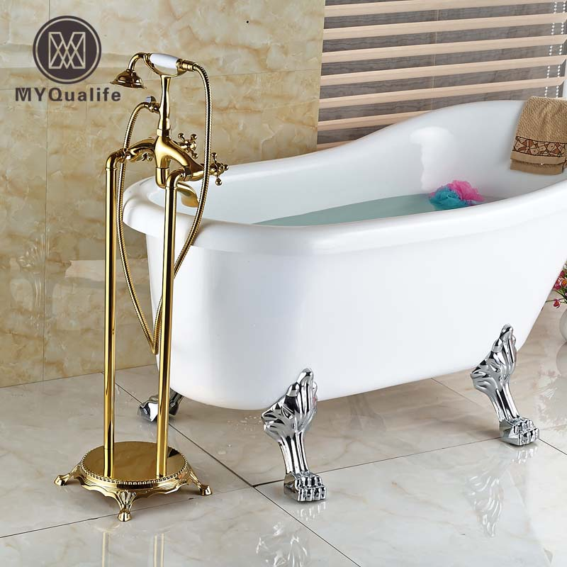 NEW Golden Telephone Style Free Standing Floor Mount Bathtub Faucet Set  Dual Handles With Handshower Tub Filler