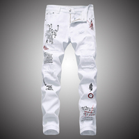 White Slim Fit Jeans Pants Men 2019 Letter Embroidery Printed Trousers Jeans for Male Holes Ripped Denim Pants WA102