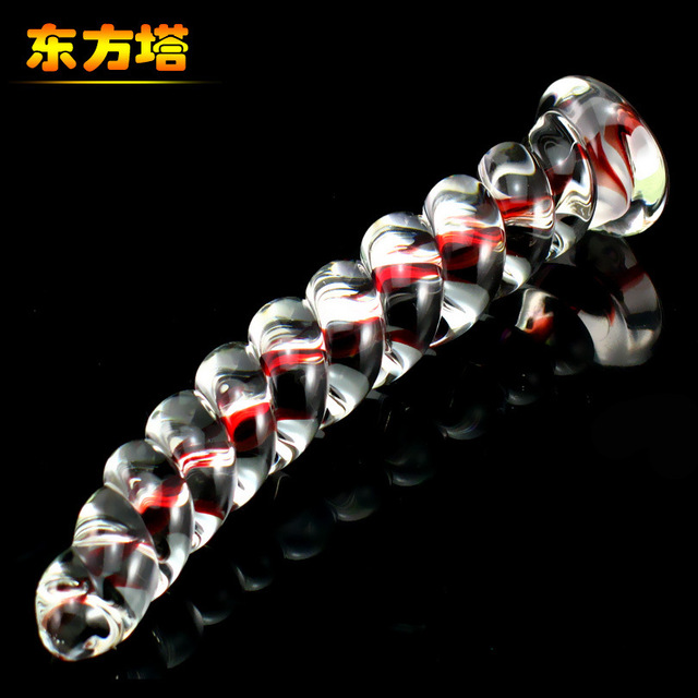 crystal glass Screw thread anal plug tail glass dildo prostata massage glass butt plug G point stimulation sex tool for sale