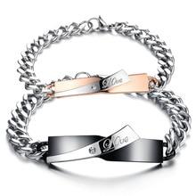 6 Style Fashion Couple Bracelets & Bangle Women Men Zircon Chain Stainless Steel Bracelet Valentine'S Gift