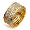 Новая Мода Классический Женщины Обручальные Кольца Высокое Качество Кубический Цирконий Micro Pave Установка Круглый Ring Rhodium Gold Plated Lead Free