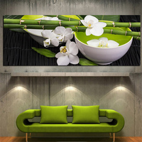 Digital Printed Tea Ceremony Painting On Canvas Printed Bamboo Teacup Orchid Painting Art Prints On Canvas