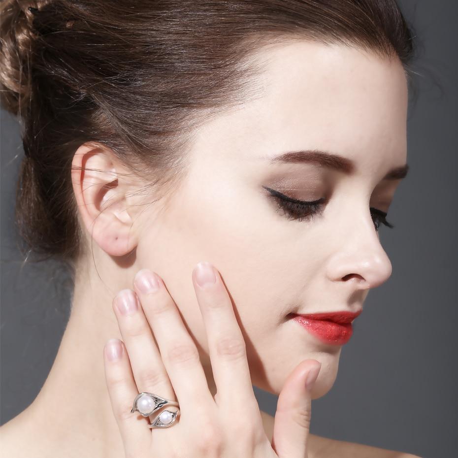 FENASY Anillo de doble perla natural de agua dulce para mujeres, - Joyas - foto 5