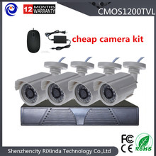 Free shipping 4CH CCTV System 1200TVL HD CCTV1.0 Megapixels IR Bullet Security Camera Kits