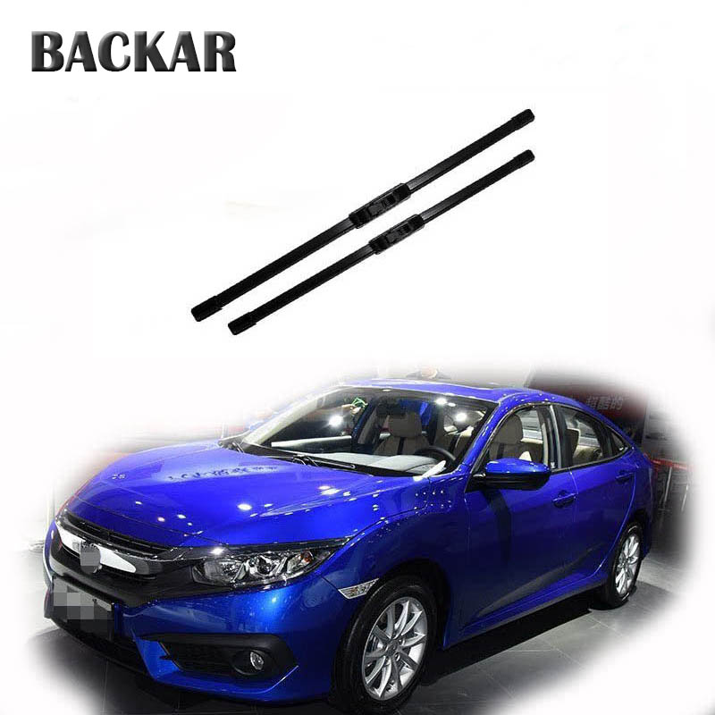BACKAR 2pcs Auto Car Front Windshield Rubber Wiper Blades For <font><b>Honda</b></font> <font><b>Civic</b></font> 2018 2017 2016 2015-2002 <font><b>Accessories</b></font> image