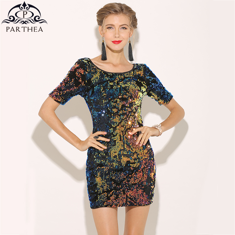 Parthea Colorful Sequin Dress TY031