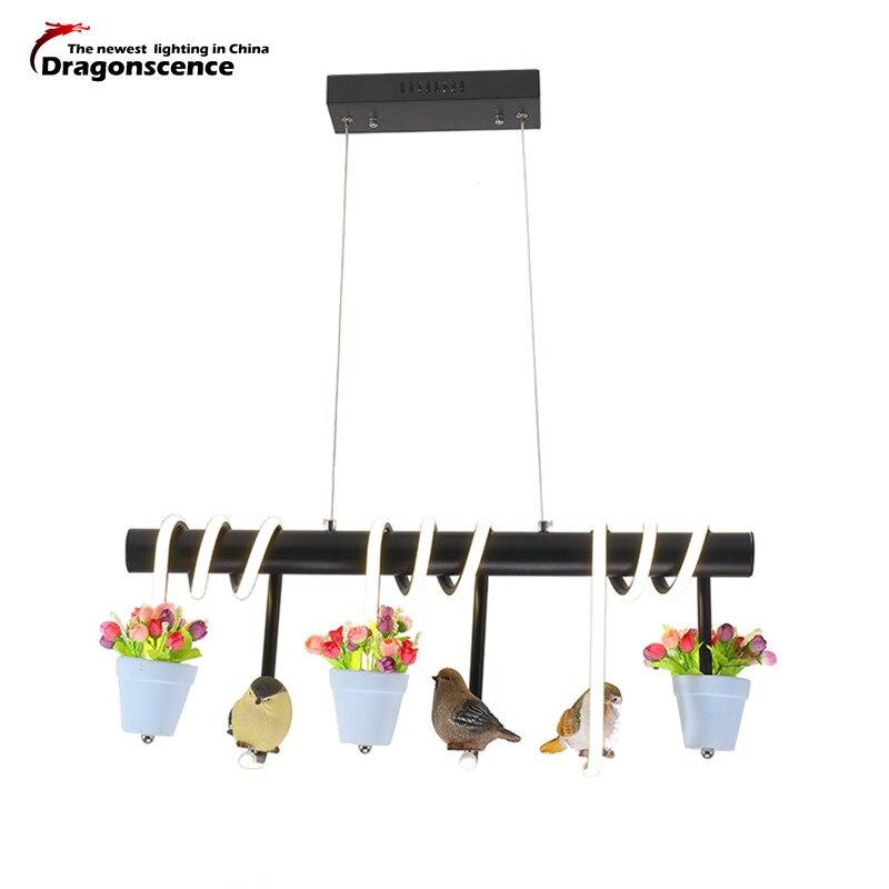 Dragonscence Aluminum Modern Led Pendant light For Living Dining Kitchen Room AC85-265V Hanging Pendant lamp Flowers and birds