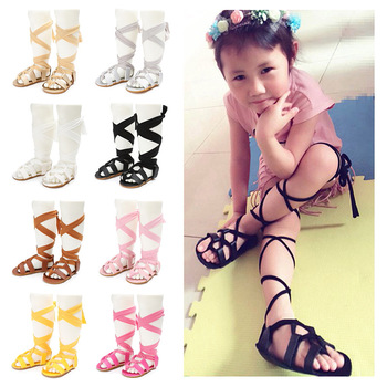 Baby Girls Flat Heels Lace-up Leather Sandals Girls Rome Sandals Baby High Gladiator Sandals Kids PU Leather non-slip Sandals фото