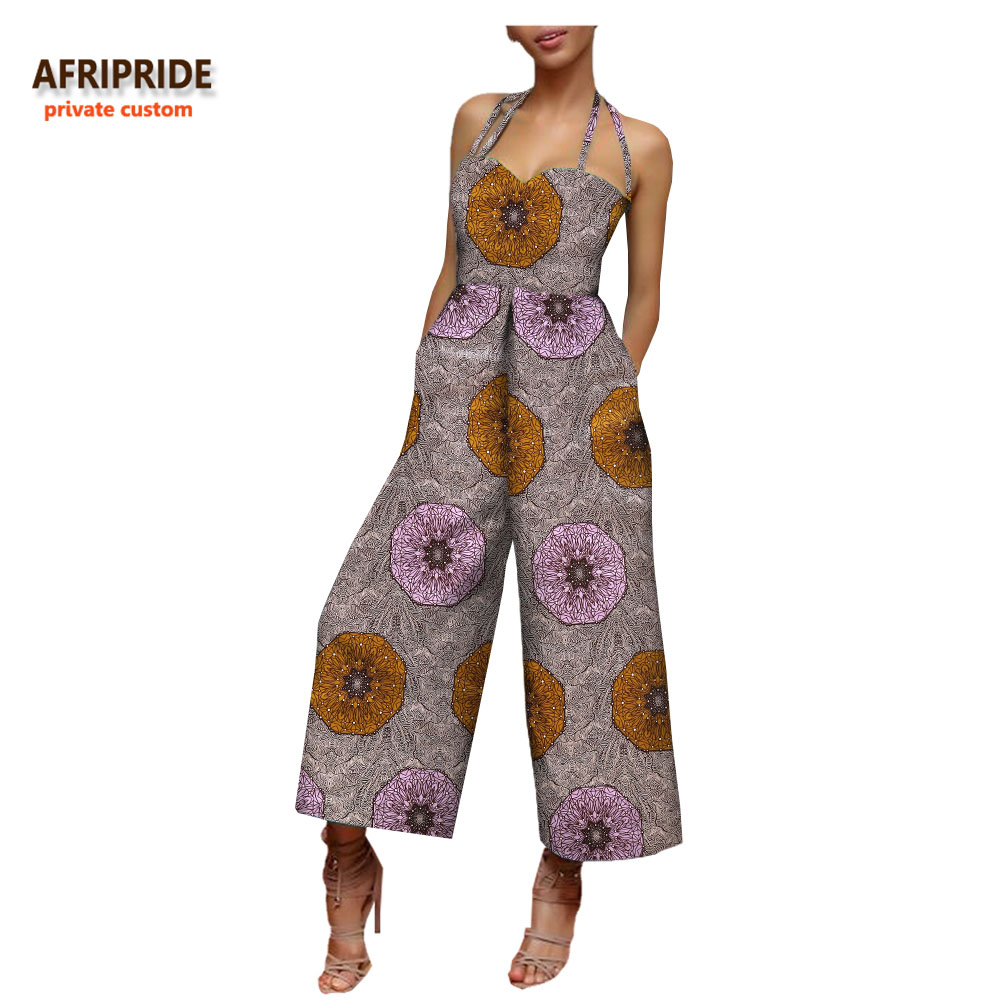 2018 african clothing women jumpsuit AFRIPRIDE sleeveless halter ankle length wide leg casual cotton jumpsuit for