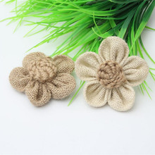 10 Pc Light /Brown Hessian Roses Burlap Flower Wedding Decor DIY Gift Packing