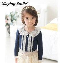 Одежда для малышей Детская темно-синяя футболка с круглым вырезом и длинными рукавами детская одежда модная универсальная Повседневная Удобная хлопковая одежда